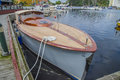 Beautiful wooden boat the is on display at the harbor during halden food and harbor festival which is held every year on the last Royalty Free Stock Photography