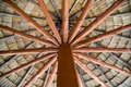 Beautiful wooden roof made with coconut leaves Stock Photos