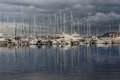 Beautiful yachts in bay illustration with the luxury boats and reflection water Stock Photos