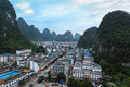 Beautiful yangshuo town at dusk Stock Photo