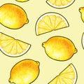 Beautiful yellow lemon fruits isolated on yellow background. Lemon doodle drawing. Seamless pattern