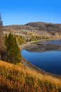 Beautiful yellowstone scenic lake shore in autumn time Stock Photo