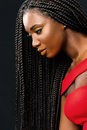Beautiful young african woman with long braided hair. Royalty Free Stock Photo