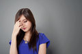 Beautiful young Asian woman looking stressful Royalty Free Stock Photo