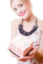 Beautiful young attractive woman blue eyes blond girl holding pink box gift in hands & looking at camera portrait on on white Royalty Free Stock Photo