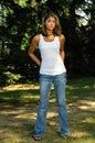 Beautiful young biracial woman - serious Royalty Free Stock Photo