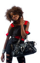 Beautiful young black woman with handbag Royalty Free Stock Photos