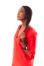 Beautiful young black woman in red dress Royalty Free Stock Photos