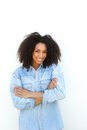 Beautiful young black woman smiling portrait of a on white background Royalty Free Stock Photography