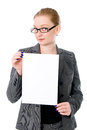 Beautiful young blond business woman is holding blank whiteboard sign isolated on white background Stock Images