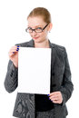 Beautiful young blond business woman is holding blank whiteboard sign isolated on white background Royalty Free Stock Photos
