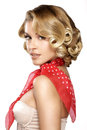 Beautiful young blond model curly hair posing on white Royalty Free Stock Images