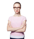 Beautiful young blond woman wearing glasses with arms folded. Office style. Looking at the camera. Isolated on white background Royalty Free Stock Photo