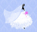 Beautiful young bride fashion illustration of a pretty on blue damask Royalty Free Stock Images