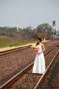 Beautiful Young Bride on A Railway Road Stock Photos