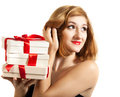 Beautiful young brunette girl with presents Royalty Free Stock Photo