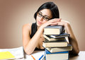 Beautiful young brunette student. Royalty Free Stock Images