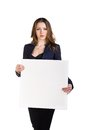Beautiful young business woman with blank board studio shot isolated on white Stock Photo