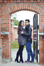 Beautiful young cheerful couple portrait outdoors Royalty Free Stock Photography