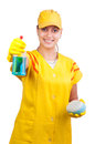 Beautiful young cleaning lady isolated on white Stock Image