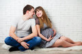 Beautiful young couple expecting baby happy and pregnant hugging man and women for childbirth portrait of happy family Royalty Free Stock Image
