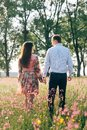 Beautiful young couple holding hands and walking in sunshine in spring meadow with pink flowers. Happy family smiling in green Royalty Free Stock Photo