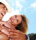 Beautiful young couple in love having fun together Stock Images