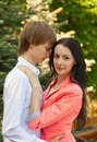 Beautiful young couple in love portrait of Royalty Free Stock Photos