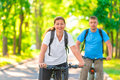 Beautiful young cyclists Royalty Free Stock Photo