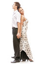 Beautiful young dancers couple isolated portrait of gorgeous girl and men standing back to back Royalty Free Stock Photo