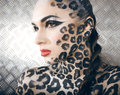 Beautiful young european model in cat make up and bodyart close portrait of Royalty Free Stock Photos