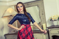 Beautiful young fashion caucasian model posing next to commode in blue and red and scottish cell dress and black shoes and makeup Royalty Free Stock Images