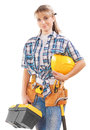 Beautiful young female construction contractor with tools isolat isolated on white background Stock Photography