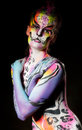 Beautiful young female with full body paint Royalty Free Stock Photography