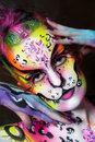 Beautiful young female with full body paint Royalty Free Stock Photos