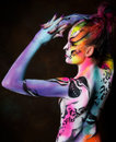 Beautiful young female with full body paint Royalty Free Stock Photo