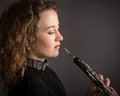 Beautiful Young Female Oboe Player Royalty Free Stock Photo