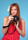 Beautiful young female photographer Stock Image