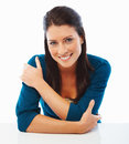 Beautiful young female smiling over white Stock Photo