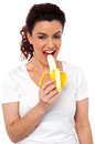 Beautiful young fit girl eating banana Stock Photography
