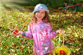 Beautiful young girl in autumn garden holding apples Royalty Free Stock Photos