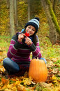 Beautiful young girl in autumn park Stock Image