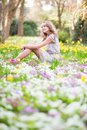 Beautiful young girl in forest on a spring day Stock Images