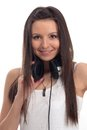 Beautiful young girl with headphones Stock Photo
