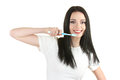 Beautiful young girl holding toothbrush Stock Images