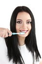 Beautiful young girl holding toothbrush Royalty Free Stock Photography
