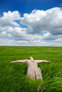 Beautiful young girl lying at green field, Stock Image