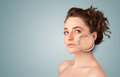 Beautiful young girl with magnifying glass of skin damage healthy Stock Image