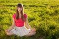 Beautiful young girl meditating Royalty Free Stock Photo