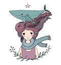 Beautiful young girl sailor with a whale in her hair. Sea animals.